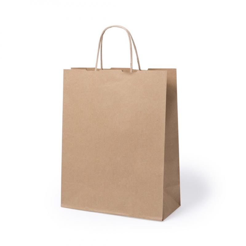 9865b7290 Bolsa de papel Kraft en color natural de 100 gr. con asas cortas reforzadas  y fuelle.